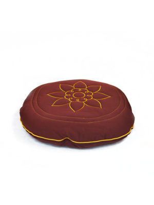 Circular Cotton Cushion with Lotus Embroidery I
