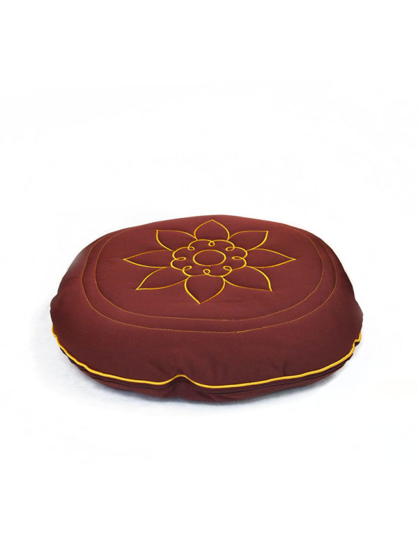 Circular Herbs Cushion with Lotus Embroidery I