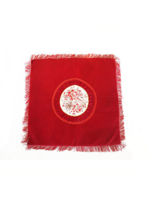 Square Embroidery Mat in Red I