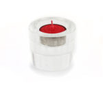 Engraved Heart Sutra Crystal Candle Holder 3