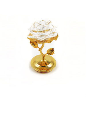 Glass Lotus with Golden Stem Candle Holder 2