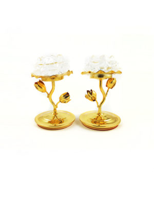 Glass Lotus with Golden Stem Candle Holder Set 1