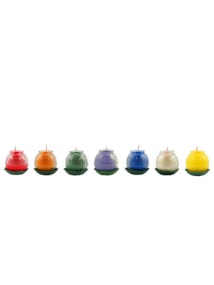 Lotus Embossed Shortening Candle Lamp (7-colour Set) (Small)