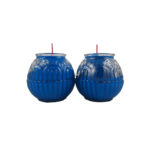 Lotus Embossed Shortening Candle Lamp in Blue (Small)