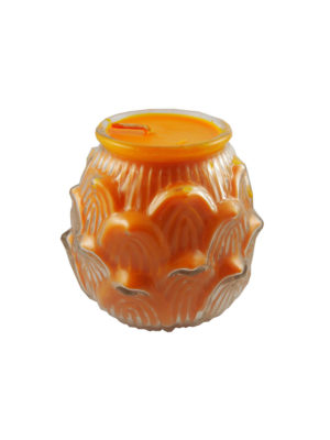 Lotus Embossed Shortening Candle Lamp in Orange (Large) (2)