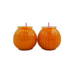Lotus Embossed Shortening Candle Lamp in Orange (Small)