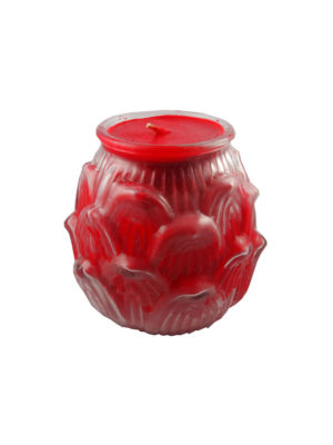 Lotus Embossed Shortening Candle Lamp in Red (Large)