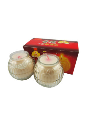 Lotus Embossed Shortening Candle Lamp in White (Small) II