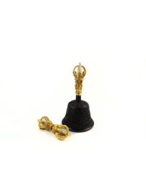Black with Gold Vajra & Bell Set (Small) 1