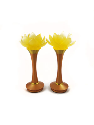 Colour Glazed Glass Blooming Lotus Lamp in Amber (26cm) 1