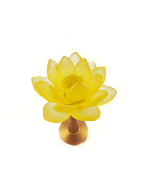 Colour Glazed Glass Blooming Lotus Lamp in Amber (26cm) 2
