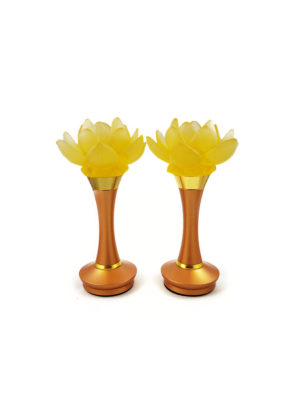 Colour Glazed Glass Blooming Lotus Lamp in Amber (21cm) 1
