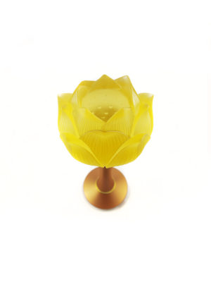 Colour Glazed Glass Lotus Lamp in Amber (25cm) 2