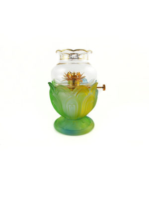 Colour Glazed Glass Oil Lamp 1