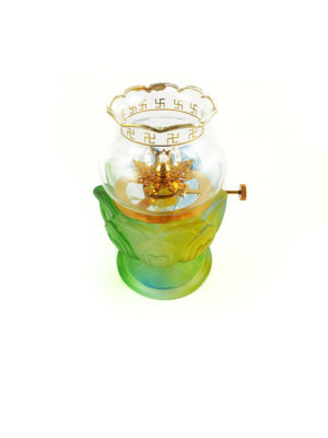 Colour Glazed Glass Oil Lamp 2