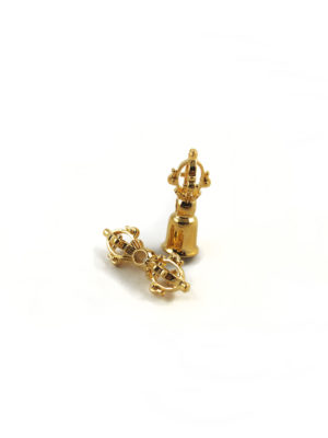 Mini Gold-plated Vajra & Bell Set Charm (2.5cm) 1