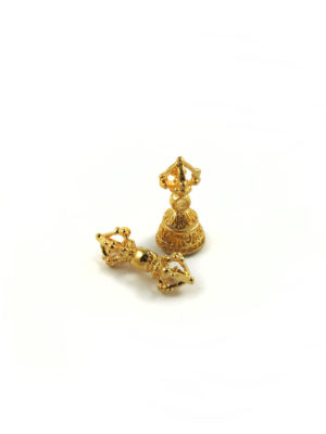 Mini Gold-plated Vajra & Bell Set Charm (2cm) 1