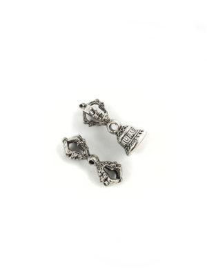 Mini Nickel-plated Vajra & Bell Set Charm (2.7cm) 2
