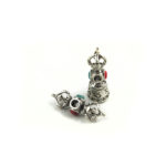 Mini Nickel-plated Vajra & Bell Set with Red & Blue Stone Charm 1