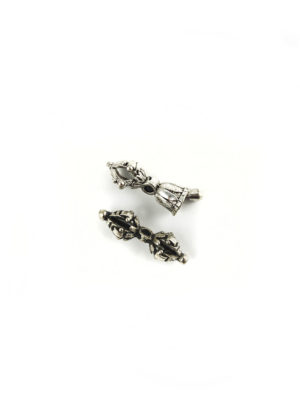 Mini Nickel-plated Vajra & Tulip-shaped Bell Set Charm 1