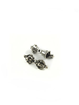Mini Nickel-plated Vajra & Tulip-shaped Bell Set Charm 2