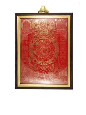 Nine-Palace-Ba-Gua-with-Red-Background-Brown-Frame-1