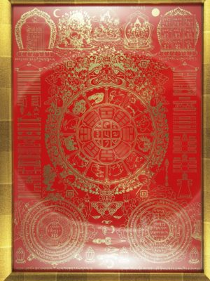 Nine-Palace-Ba-Gua-with-Red-Background-Gold-Frame-2