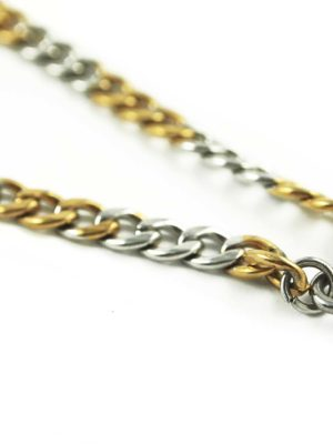 Gold-and-Silver-Stainless-Steel-Chain-One-Hook-Amulet-Necklace-2-62cm-2