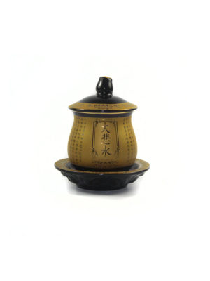 Black and Gold Great Compassion Mantra Offering Cup with Lid (Medium)1