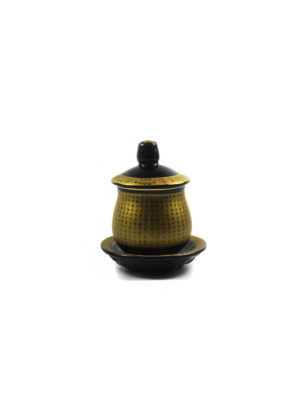 Black and Gold Great Compassion Mantra Offering Cup with Lid (Small)2