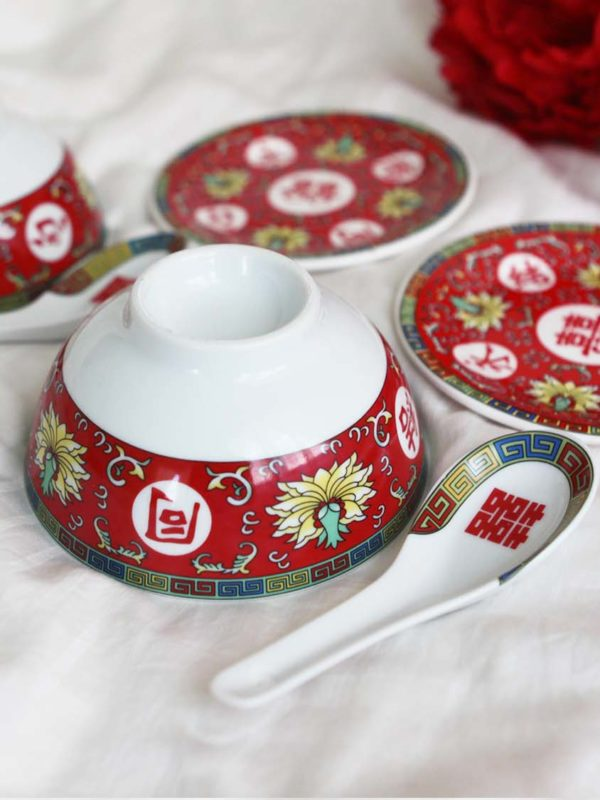 Blissful Marriage Red Bowl Set 4