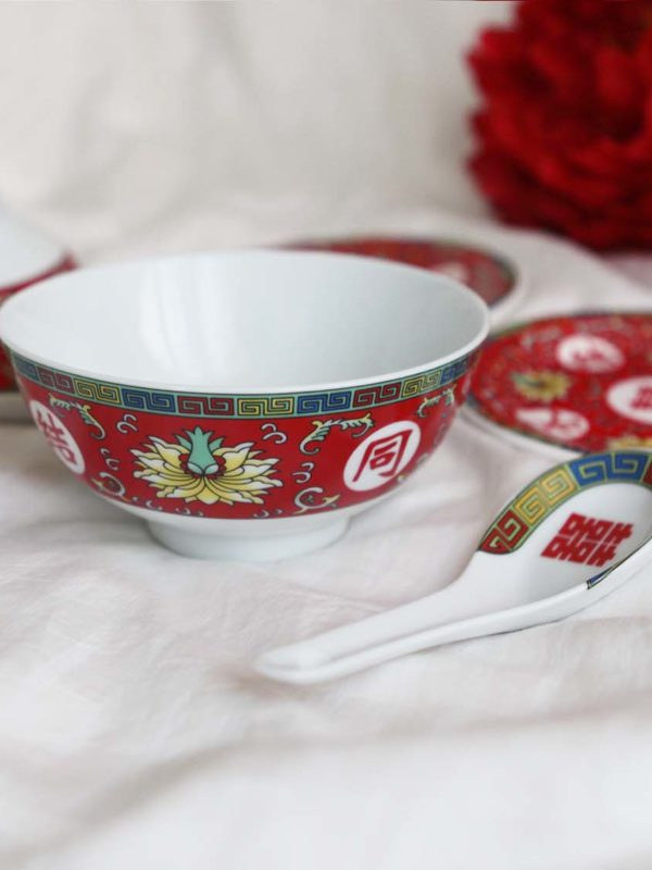 Blissful Marriage Red Bowl Set 5