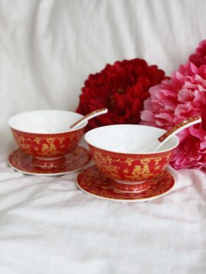 Double Happiness Red & Gold Bowl Set 1