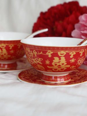 Double Happiness Red & Gold Bowl Set 2