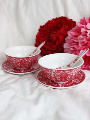 Double Happiness Red Paper Cutting Bowl Set 1