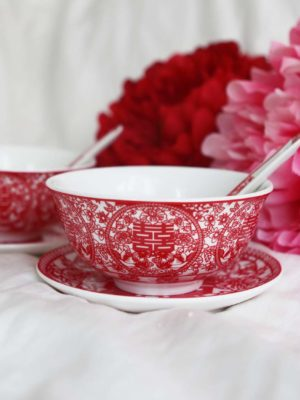 Double Happiness Red Paper Cutting Bowl Set 2