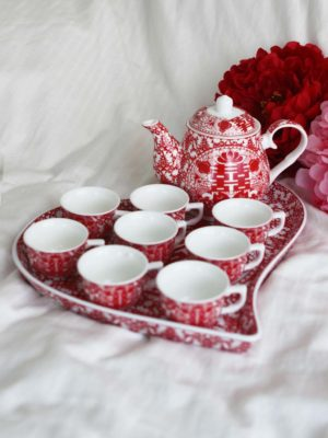 Double Happiness Red Paper Cutting Tea Set 1