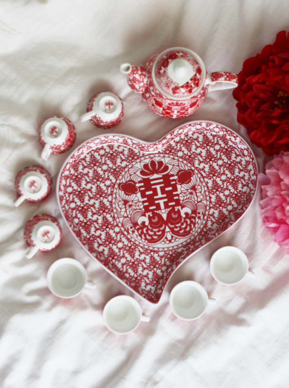 Double Happiness Red Paper Cutting Tea Set - Ren Ting Online