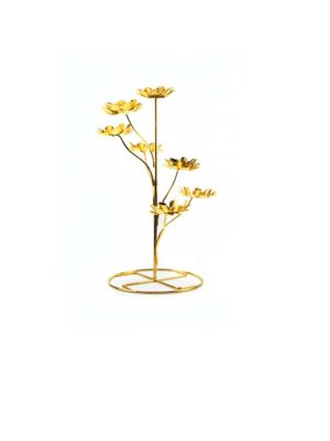 Seven Candles Lotus Holder Stand in Gold 1