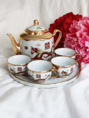 Traditional Dragon & Phoenix Gold Trimming Tea Set 1