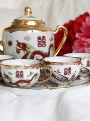 Traditional Dragon & Phoenix Gold Trimming Tea Set 2