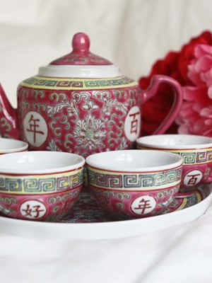 Traditional Long-lasting Marriage Pink Tea Set 2