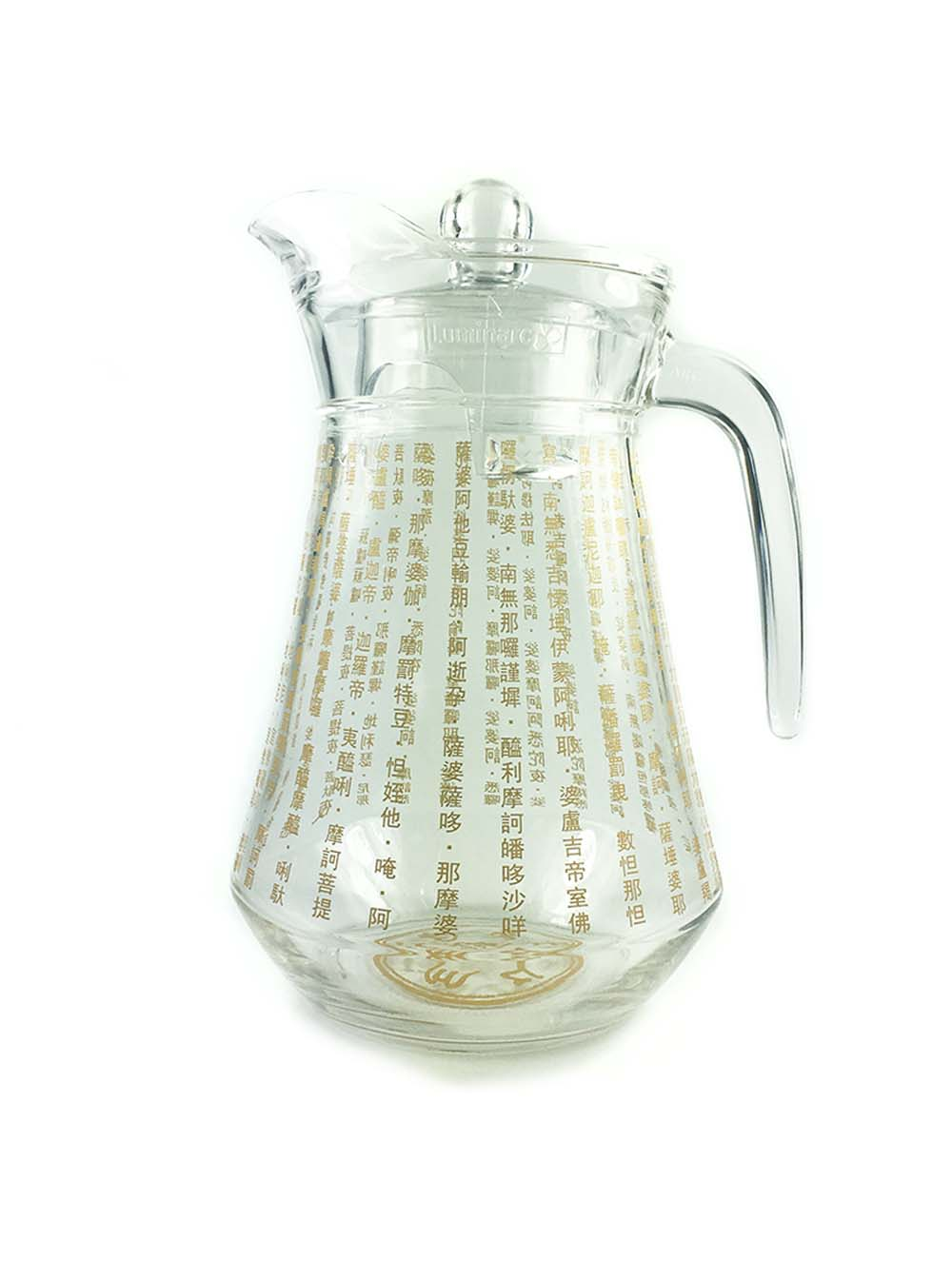 the great compassion mantra glass water jug ren ting online. Black Bedroom Furniture Sets. Home Design Ideas
