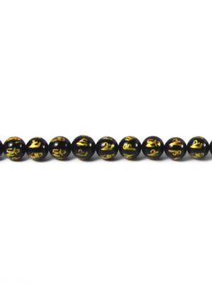 Six-syllables Mantra Black Agate 10mm