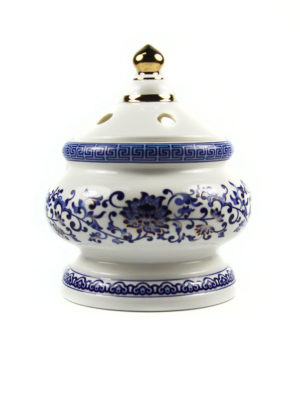 Blue Lotus Porcelain Incense Burner with Lid 1
