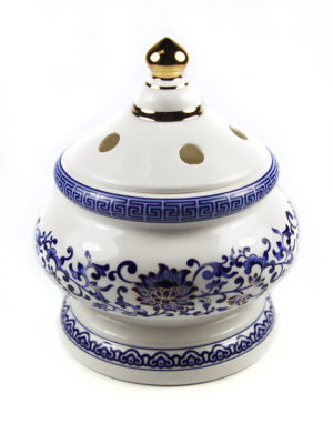 Blue Lotus Porcelain Incense Burner with Lid 2