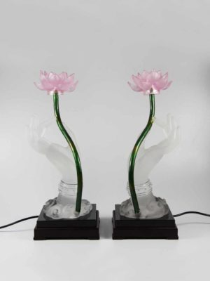 Colour Glazed Glass Buddha Hand with Lotus Lamp 1