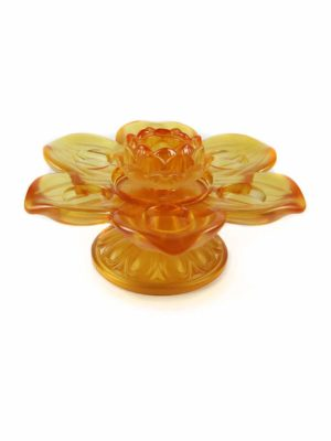Colour Glazed Glass Lotus Seven Candle Holder 2