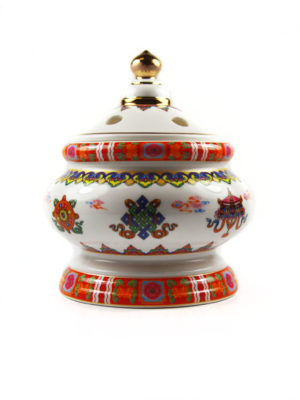 Eight Auspicious Symbols Porcelain Incense Burner with Lid 1
