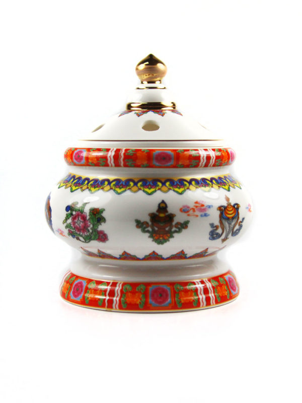 Eight Auspicious Symbols Porcelain Incense Burner with Lid 3